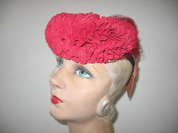 RESERVED   New Listing   1930 s Red Ruffle Fascinator 1f6356a2bdc