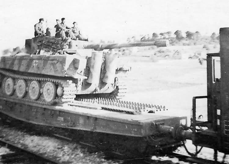 Tiger tank of the schwere panzer abteilung 503. France 1944, rail transport, rear view