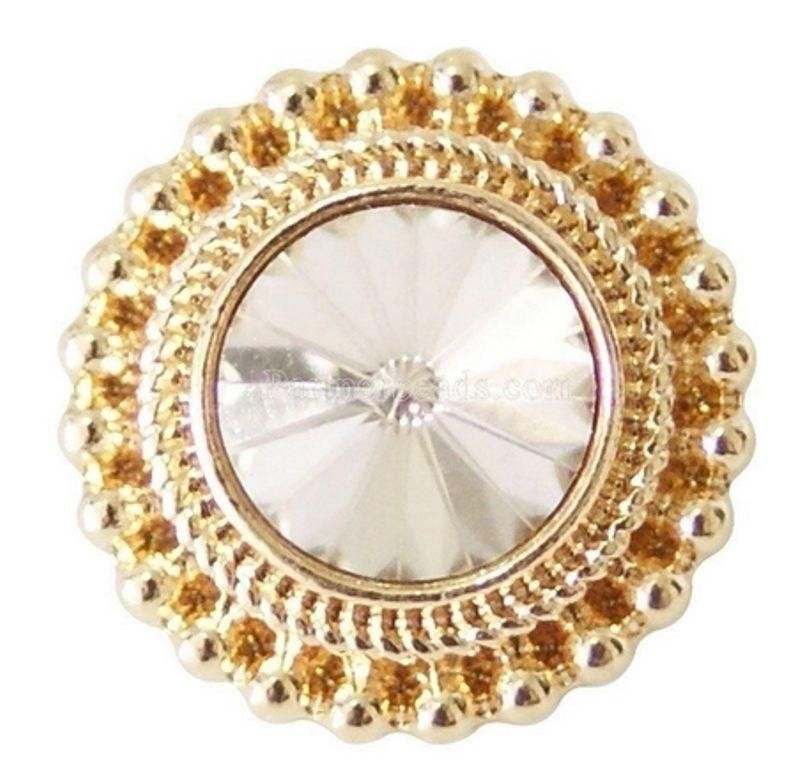 Gold White Rhinestone 20mm Snap Charm Interchangeable Jewelry Fits Ginger Snaps