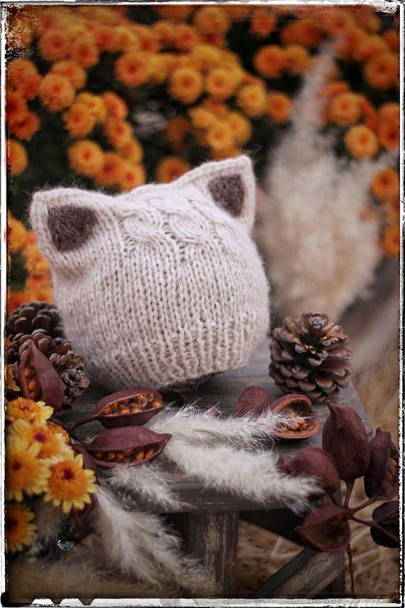 ENGLISH Language! Simple Kitten or Fox Ears Beanie Knitting Pattern ...