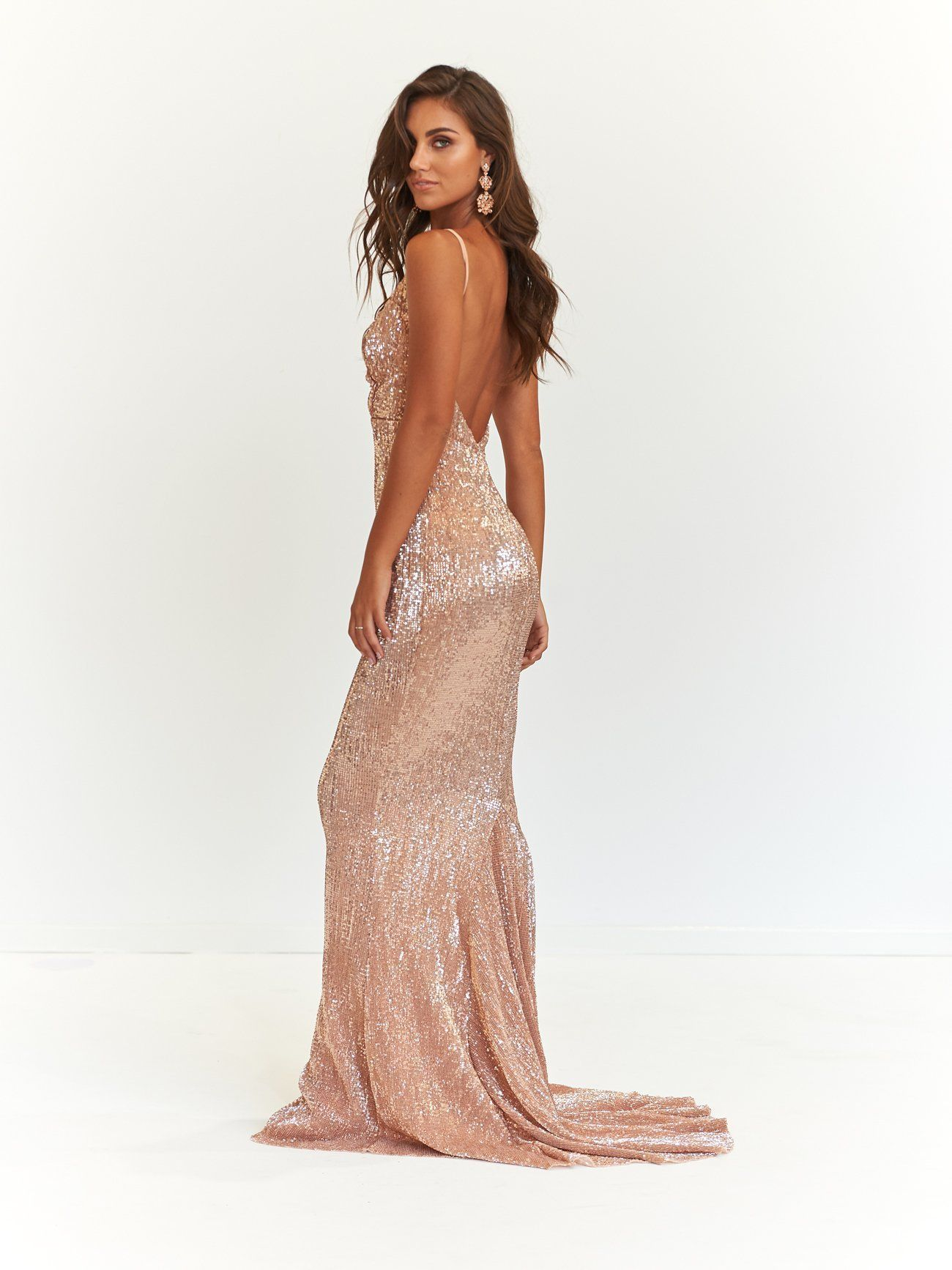 Anofficial A N Cynthia Sparkling Gown Rose Gold Product Page Https Anofficial Com Collections Backless Pr Backless Dress Formal Formal Evening Wear Gowns [ 1734 x 1300 Pixel ]