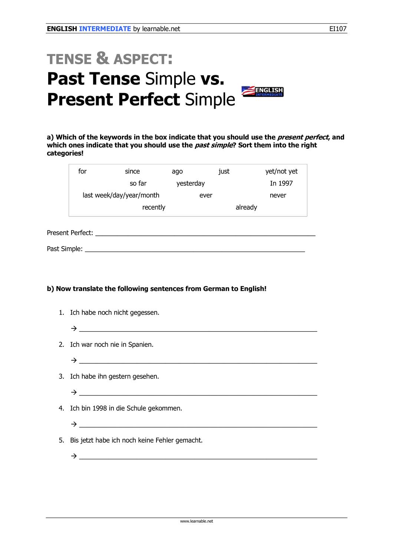 Past Tense Simple Vs Present Perfect Simple Intermediate