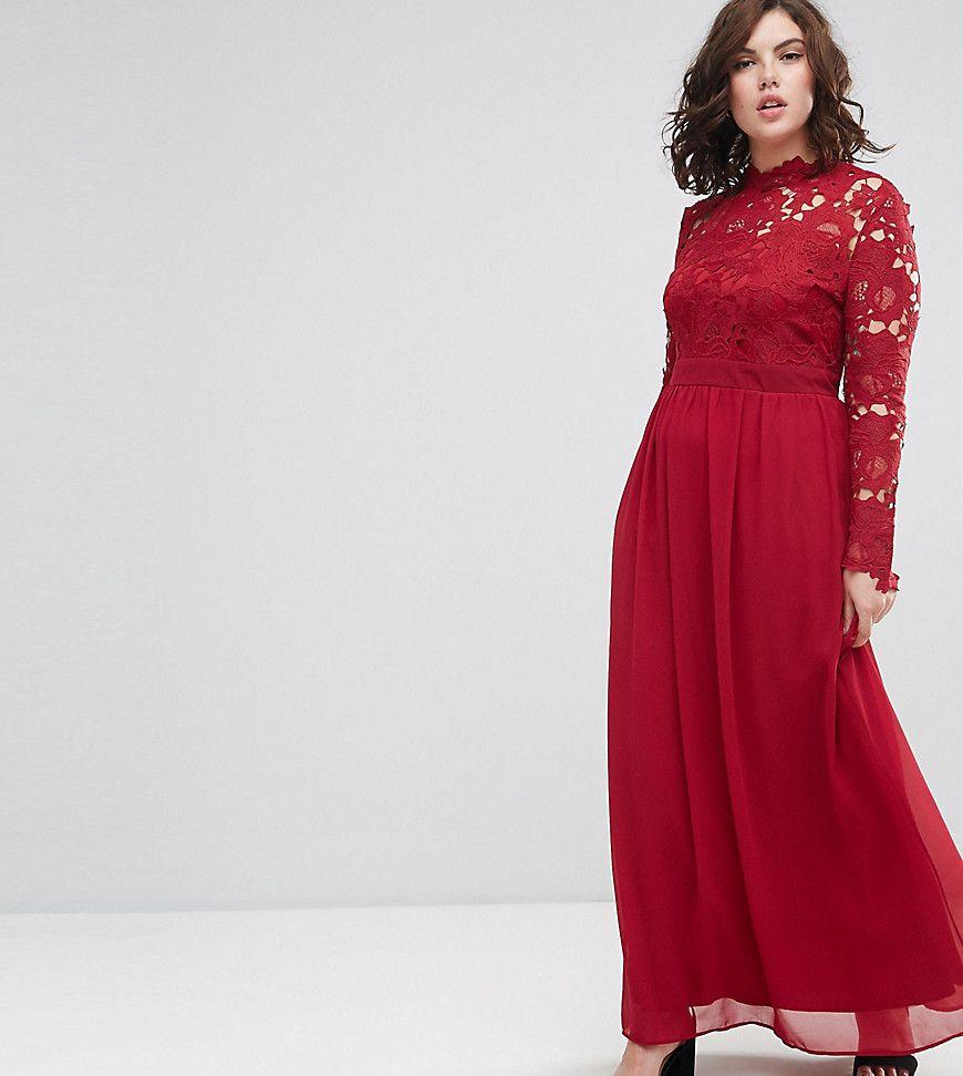Club l plus sleeve high neck crochet detailed maxi chiffon dress