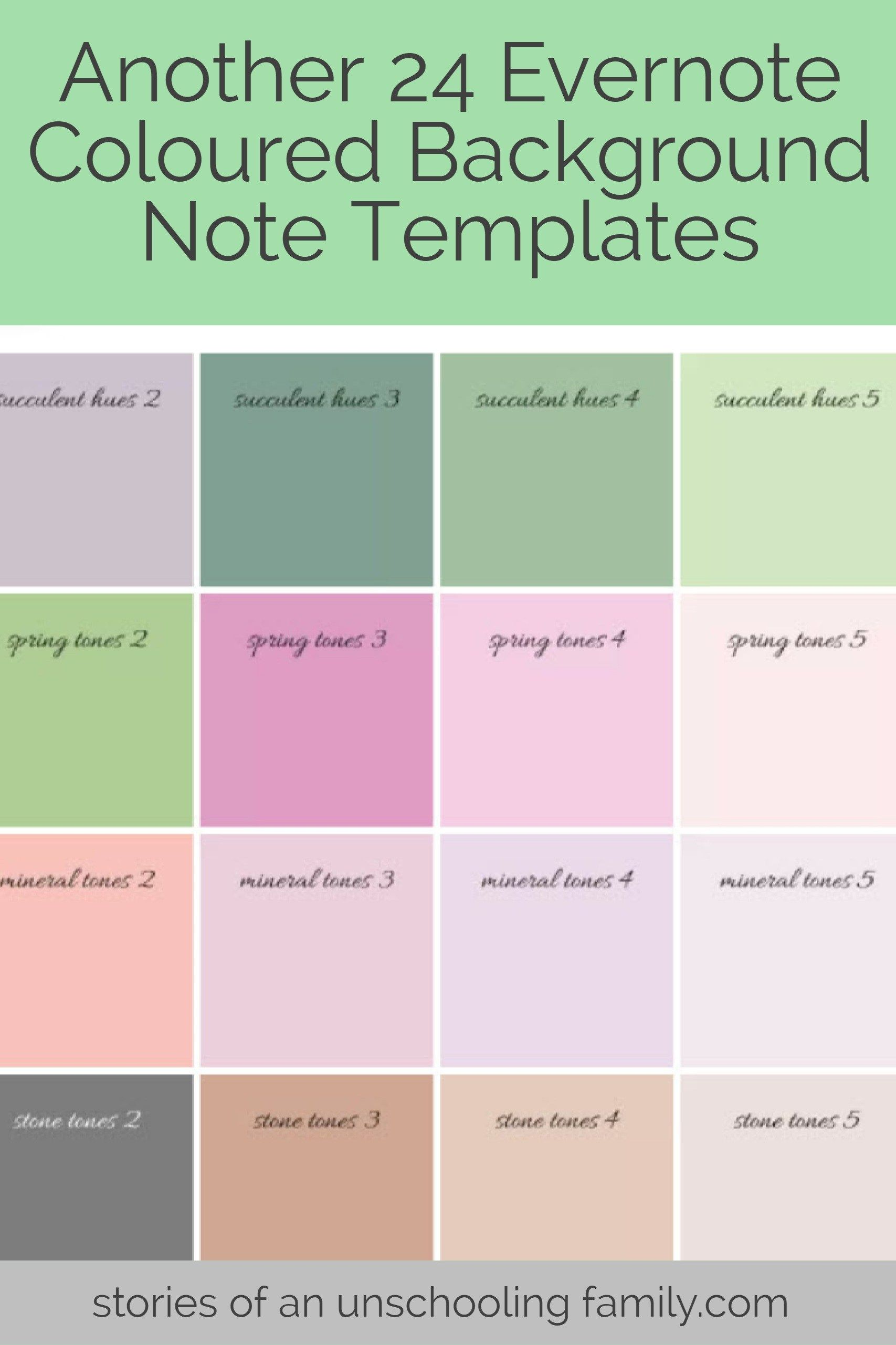Another 24 Evernote Coloured Background Note Templates Evernote