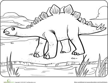 Color the Dinosaur Stegosaurus Worksheets