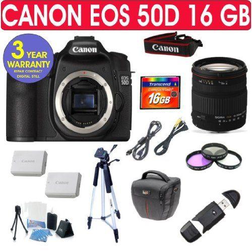Canon Eos 50d Sigma 18 200mm Lens 16 Gb Memory Canon Eos Eos Digital Slr Camera