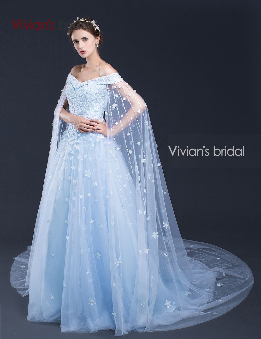 1b641c06388 Vivian s Bridal Off Shoulder Evening Dresses with Capes Beads Flowers Tulle Formal  Evening Gown SQ50525