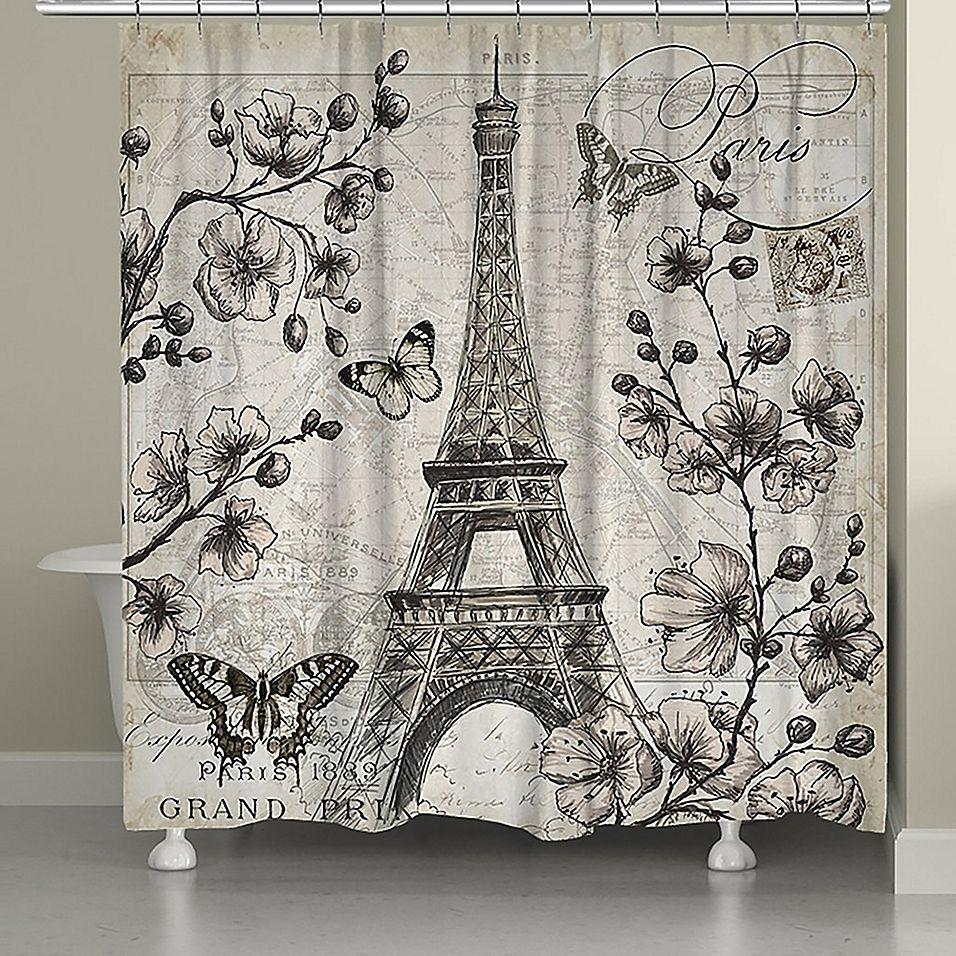 Laural Home Paris In Bloom Shower Curtain In Grey Designer