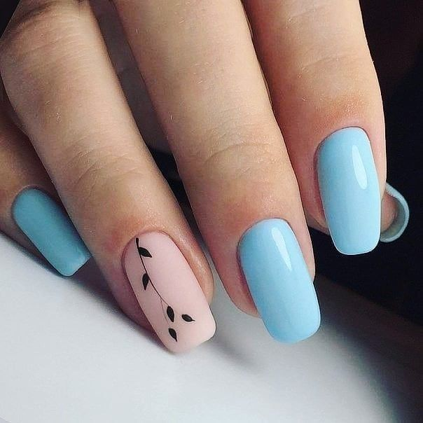 Sky blue and pink Nail Art Designs