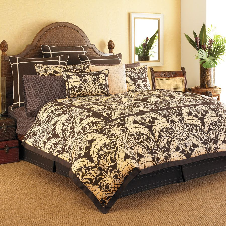 Brown bedding sets queen - Tommy Bahama Cape Verde Tropical Brown Palm Pineapple 4p Queen Comforter Set