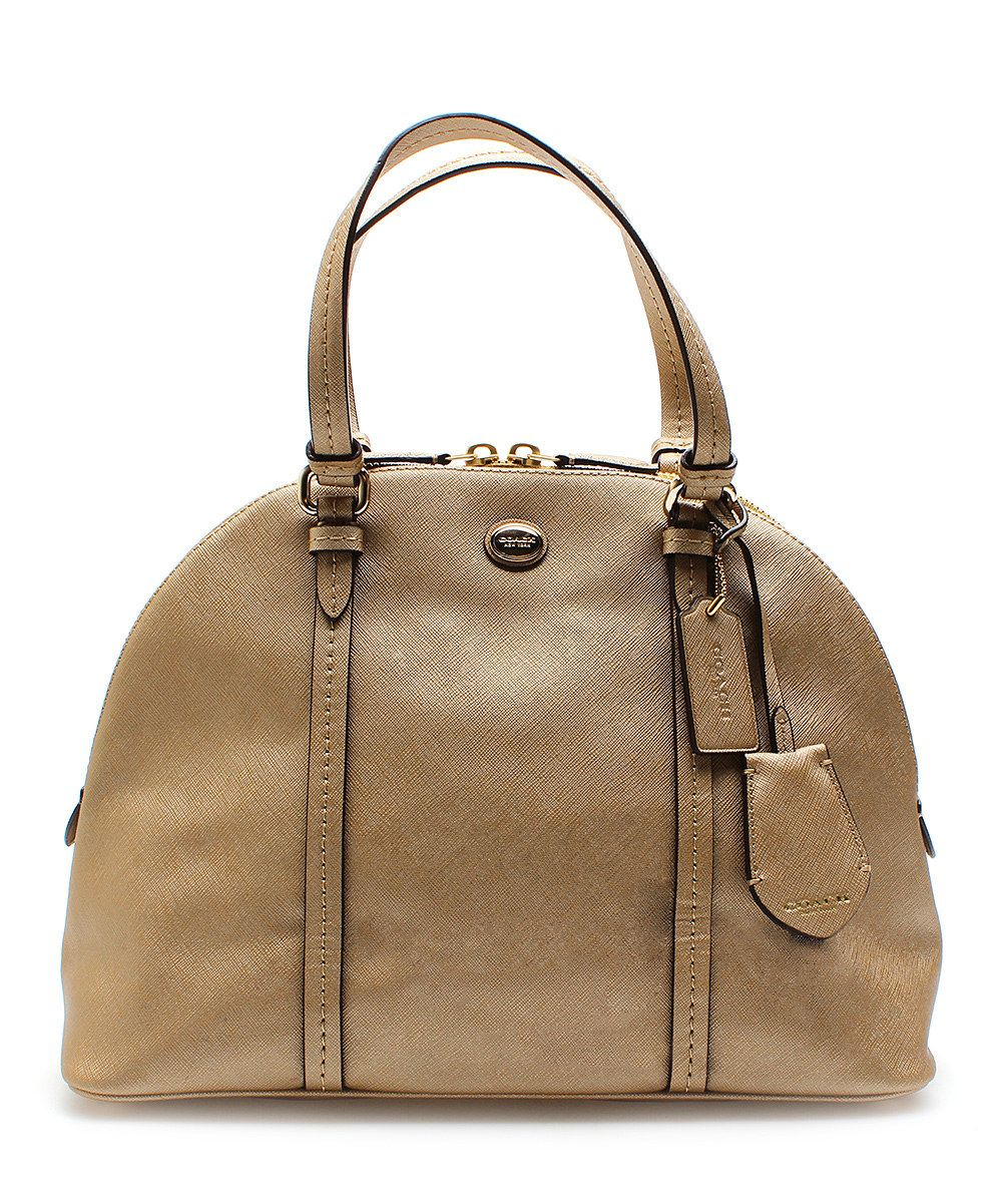 Look at this Coach Peyton Leather Cora Domed Leather Satchel on #zulily today!