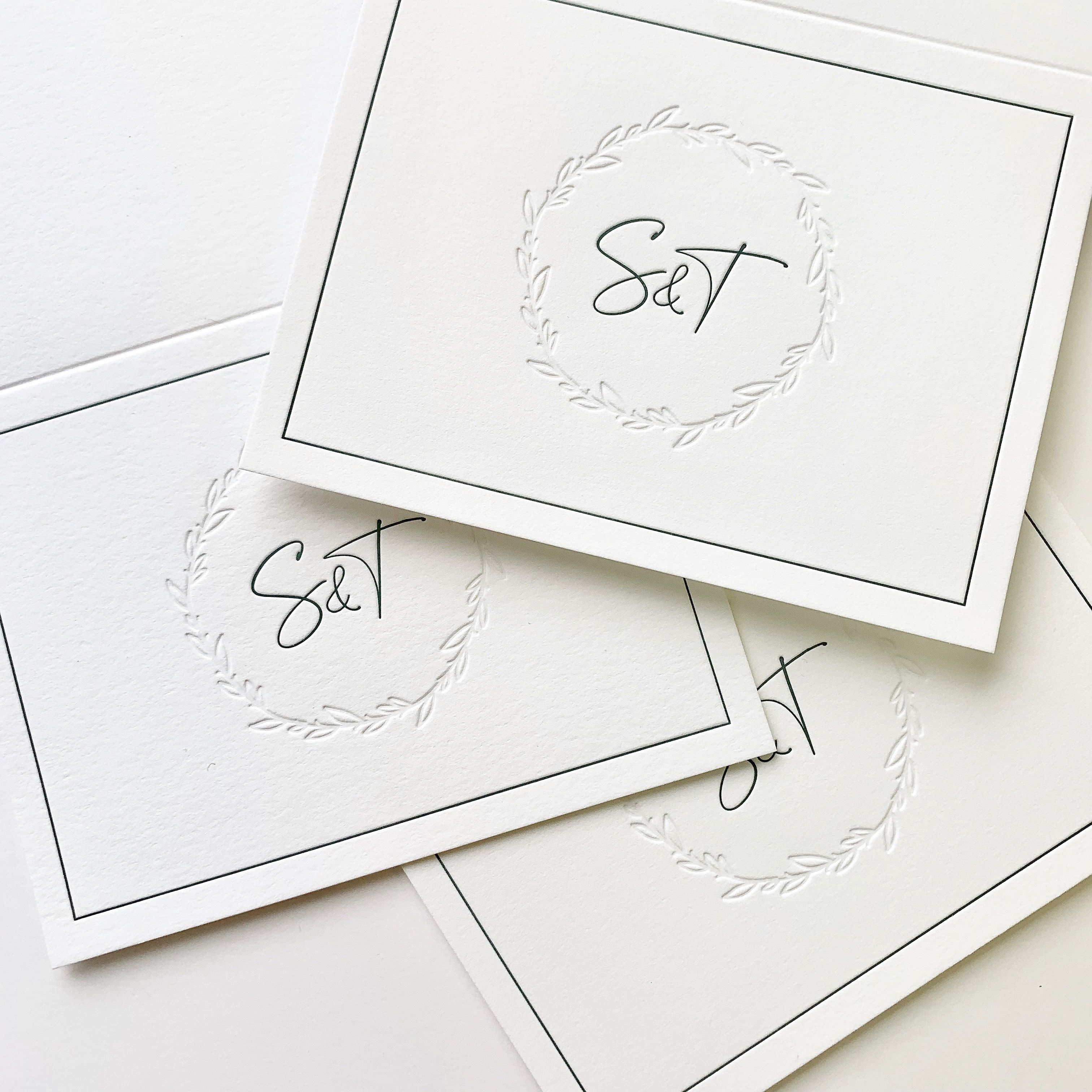"""say thank you in style with these letterpress """"greenery"""