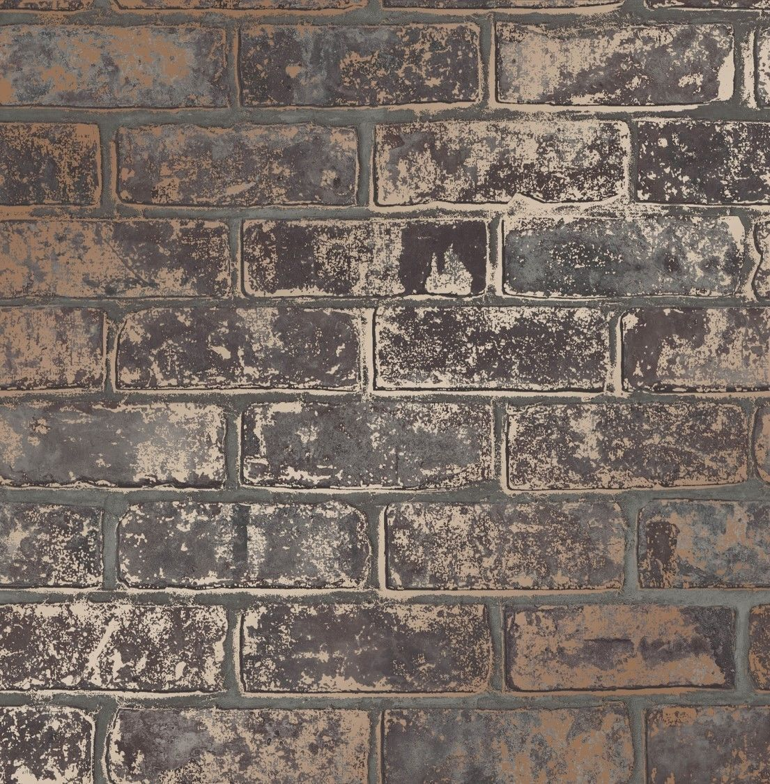 Grey Copper Metallic Brick Wall Faux Wallpaper D Effect Rustic Feature Fd