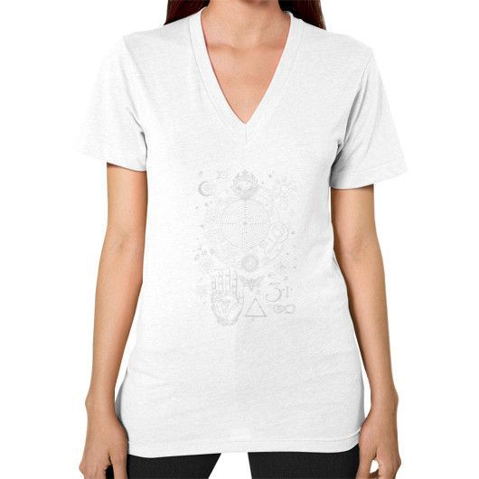 Magic Symbols for an Alchemist Dreamer V-Neck (on woman)