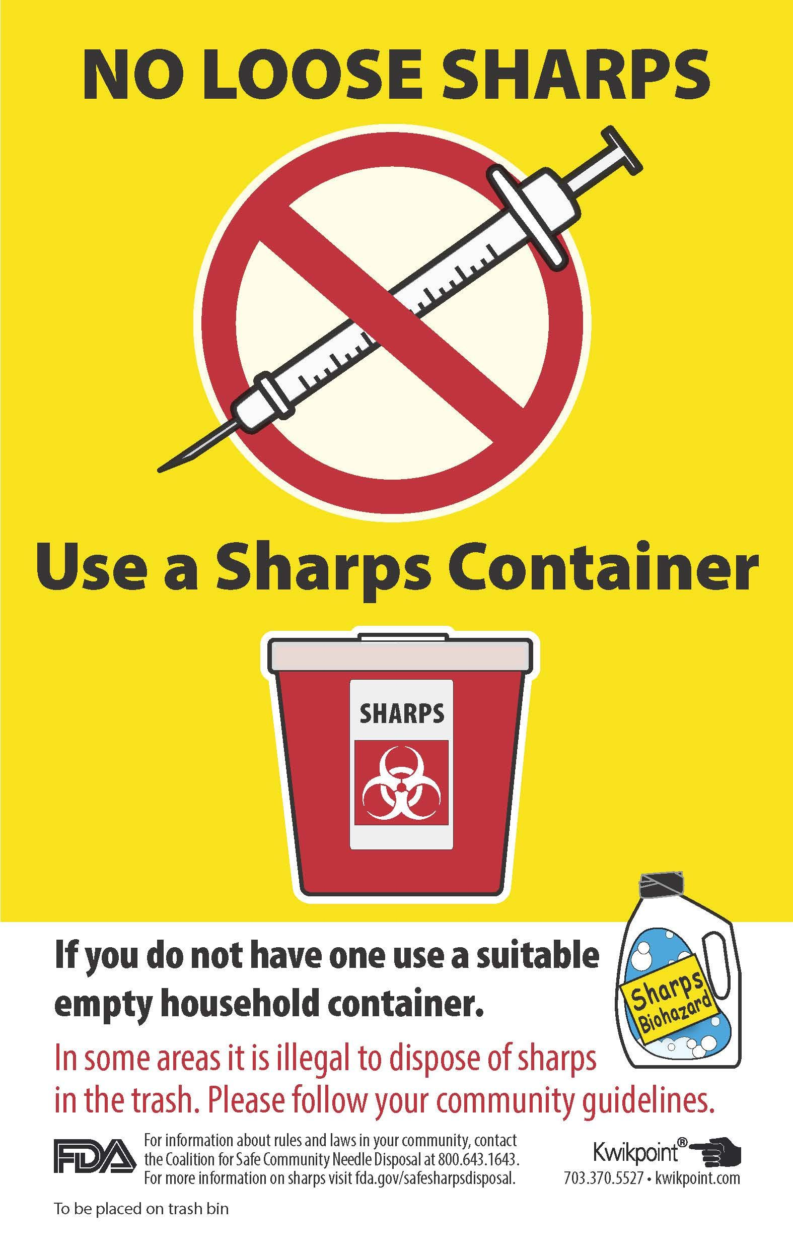 Safe Sharps Disposal Label For Garbage Container