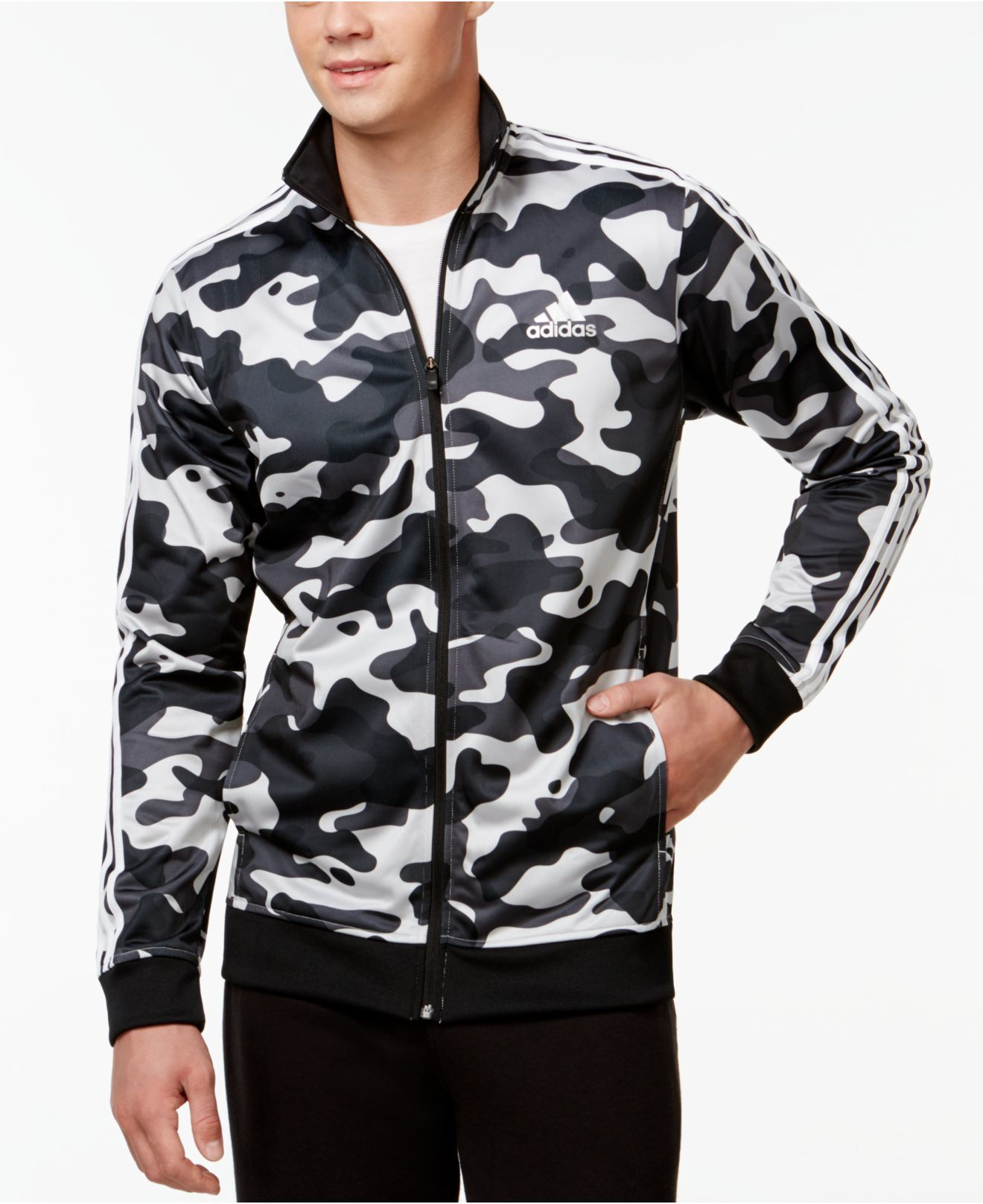 newest 32390 26668 Adidas originals Men s Camo Print Track Jacket in Gray for Men   Lyst