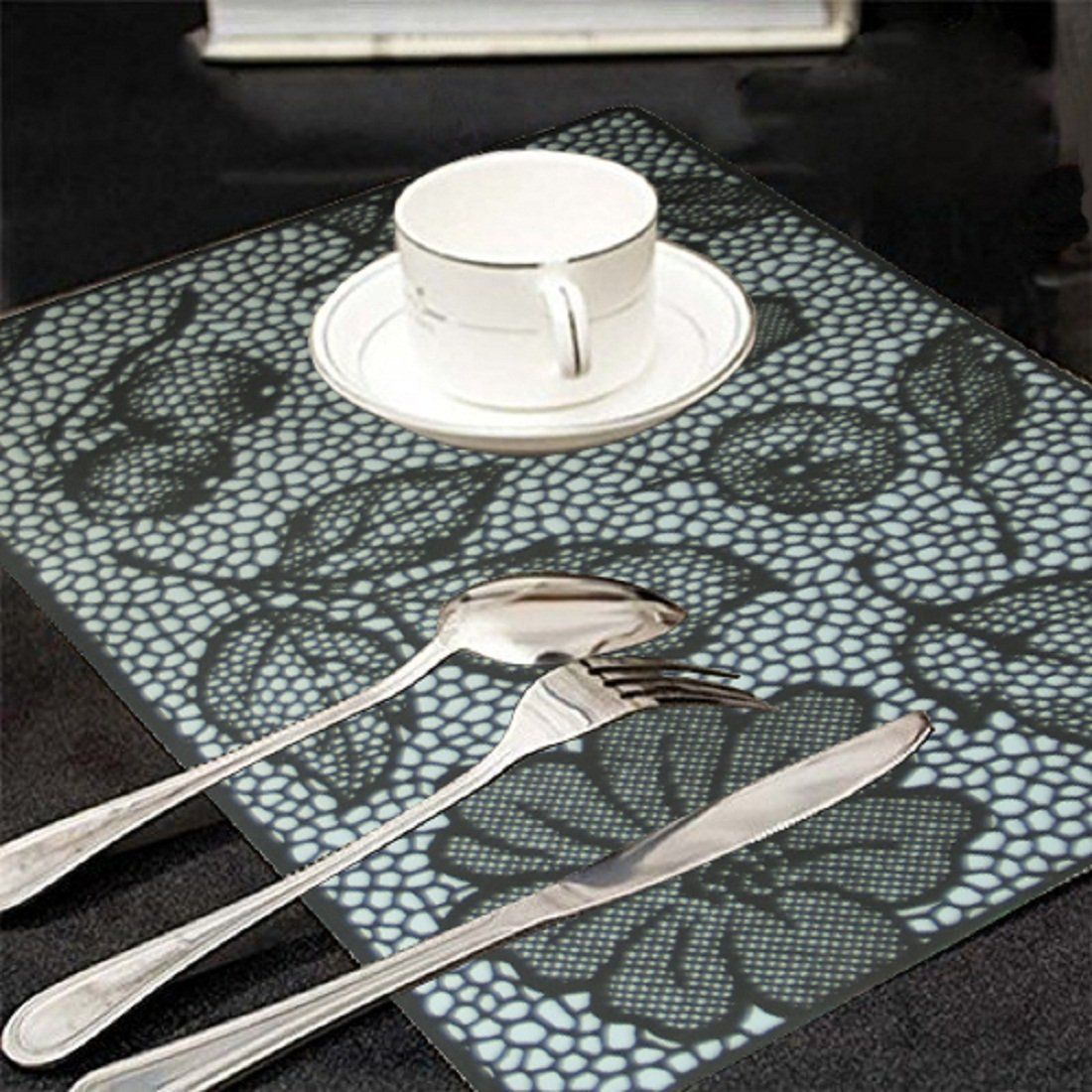 Kuber Industries Black And White Print Table Placemats Set Of 6 Table Mats And 6 Coasters Plastic Kitchen Linen Assorted Kitchen Linens Table Mats Placemats