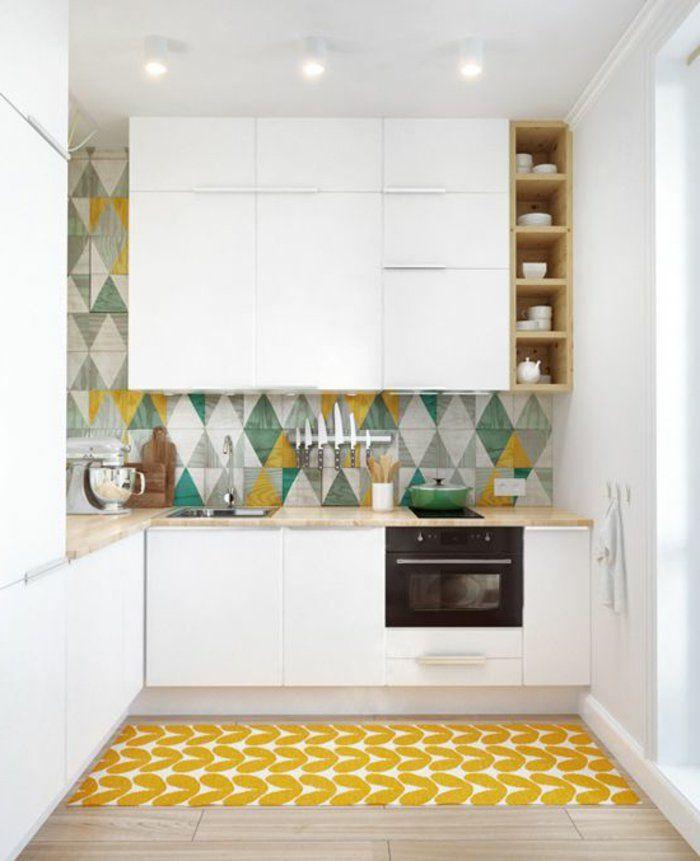 53 variantes pour les cuisines blanches! | Tapis jaune, Parquet ...