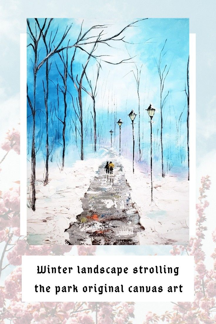 Textured original art on canvas of winter park scene