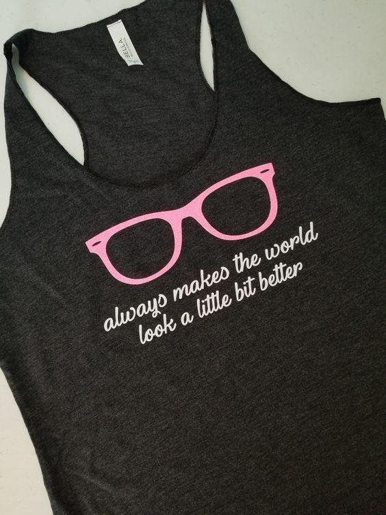eb97c20373 Pink Sunglasses Tank Top. XS-XXL. Miranda Lambert Pink Sunglasses Shirt.  Glitter pink sunglasses. Miranda Lambert tank top. Pink Sunglasses Shirt.