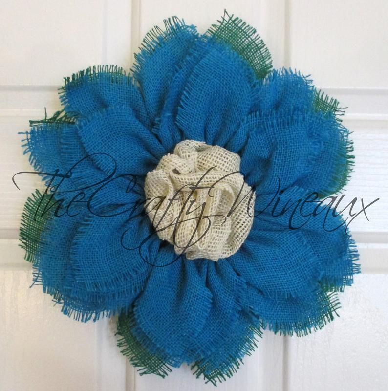 Photo of Free shipping! Small Turquoise Blue Burlap Sunflower Wreath, Sunflower Door Hanger, Burlap Wreath, Spring Flower Wreath, Summer Sunflower
