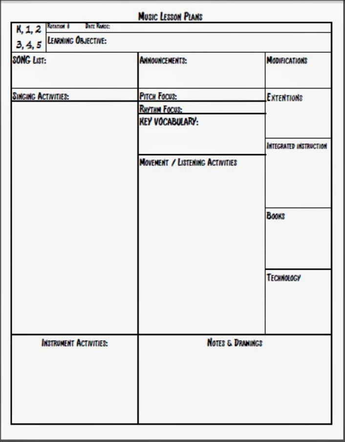 For The First Years Or So Of Teaching Music I Was Free To Use Any - Music lesson plan template