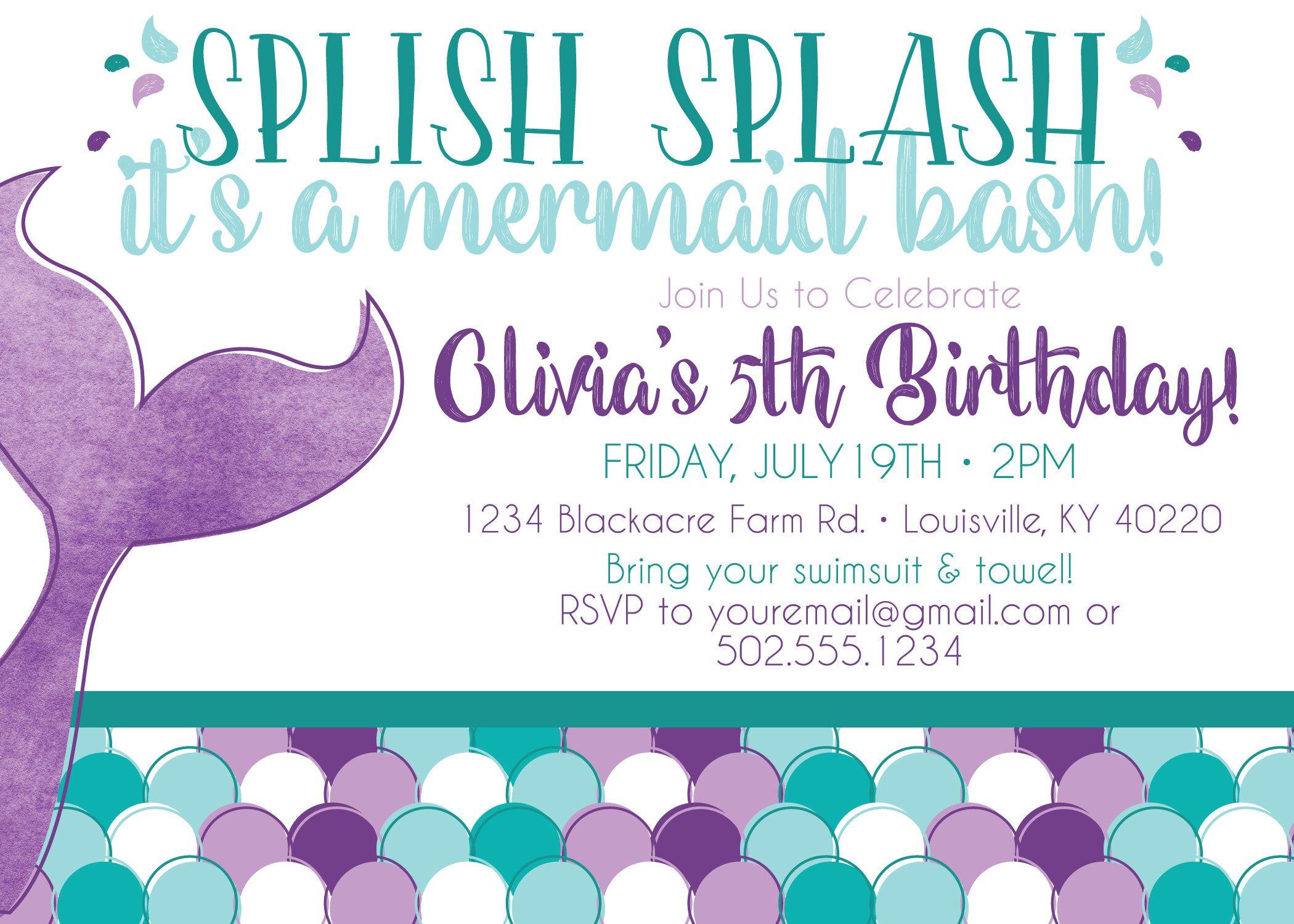 Mermaid Birthday Party Invitation Printable Invitation