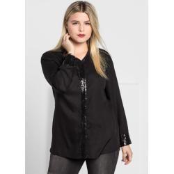 Große Größen: Bluse mit Pailletten, schwarz, Gr.52 Sheego