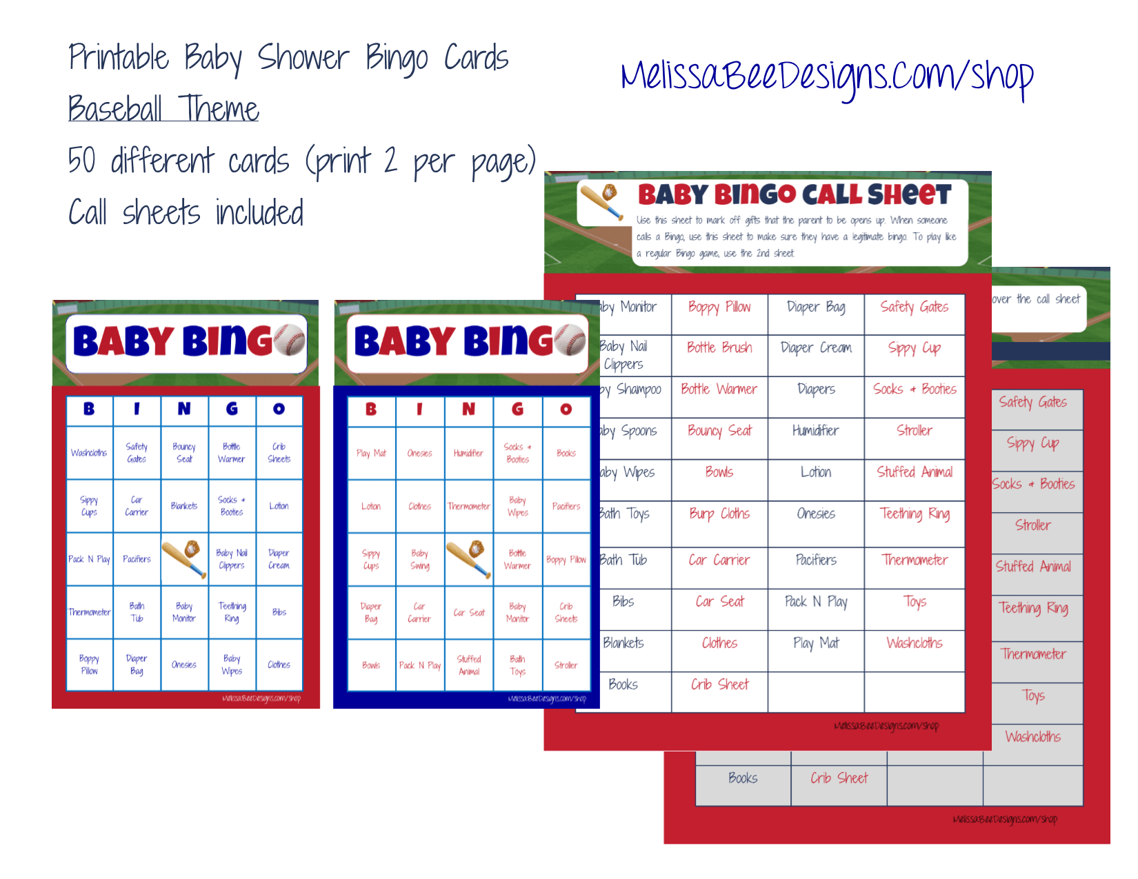 Printable Baby Shower Bingo (Boy) Game (Baseball Sports Theme) 50 Cards With