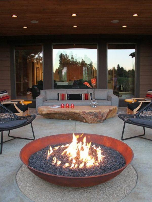 moderne terrassengestaltung u2013 100 bilder und kreative einflle moderne feuerstelle im garten - Versunkene Feuerstelle Designs