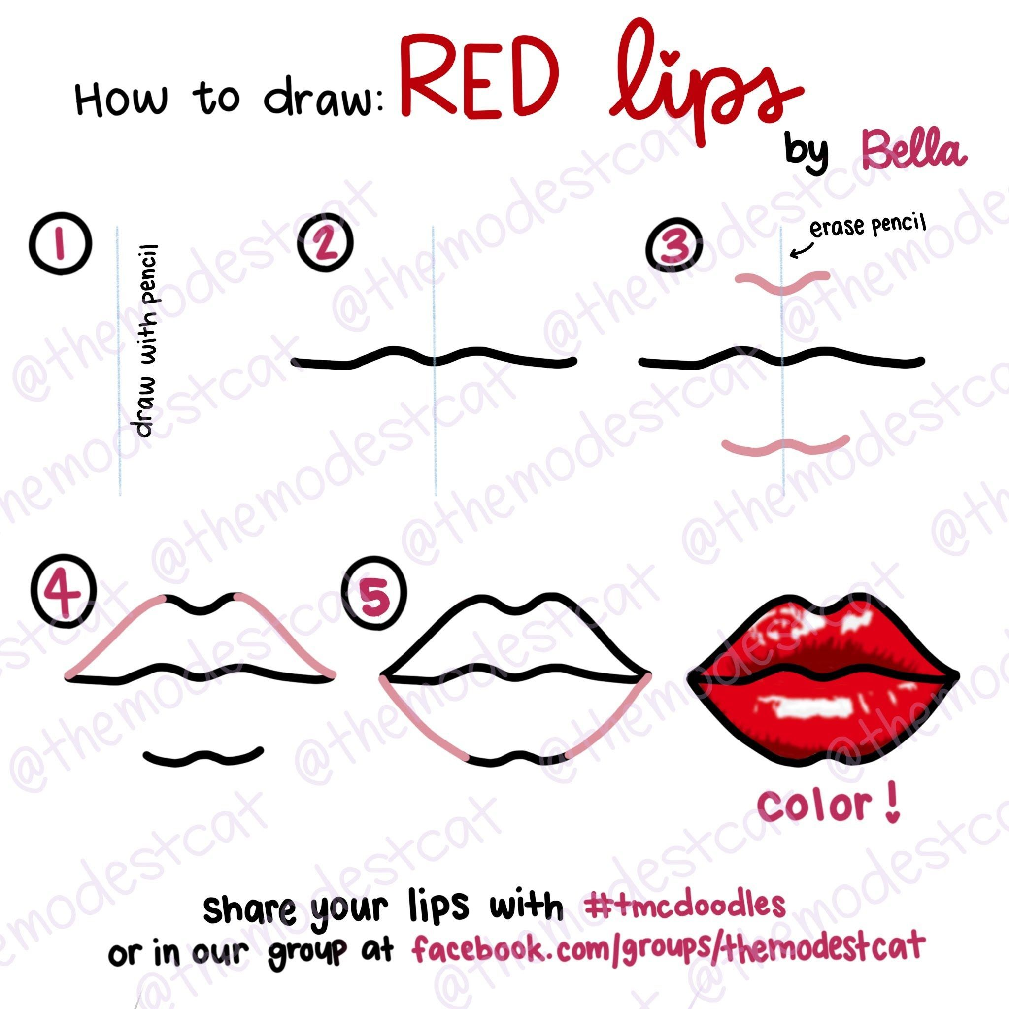 Today S Doodle Prompt Is Red Lips I Ll Show You An Easy Way To