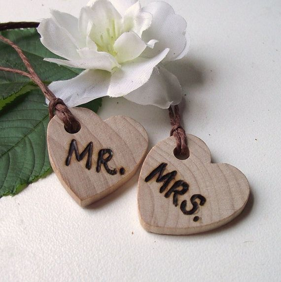 Mr and Mrs Wood Heart Charms  Wood Burned Wooden by ARemarkYouMade, $8.25
