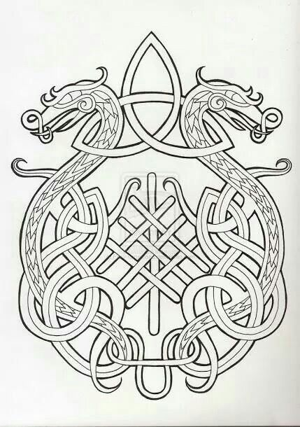 Dragon celtic knot … embroidery pinte…