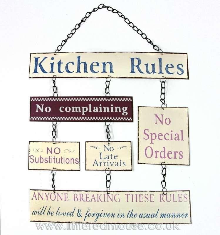 Kitchen Rules Hanging Metal Sign Wall Decor Decorative Items   Little Red  Mouse