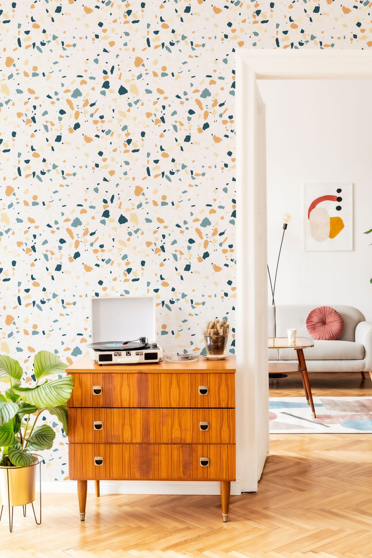 Orange Terrazzo Basic Peel And Stick Removable Wallpaper 6530 Wallpaper Decor Removable Wallpaper Decor