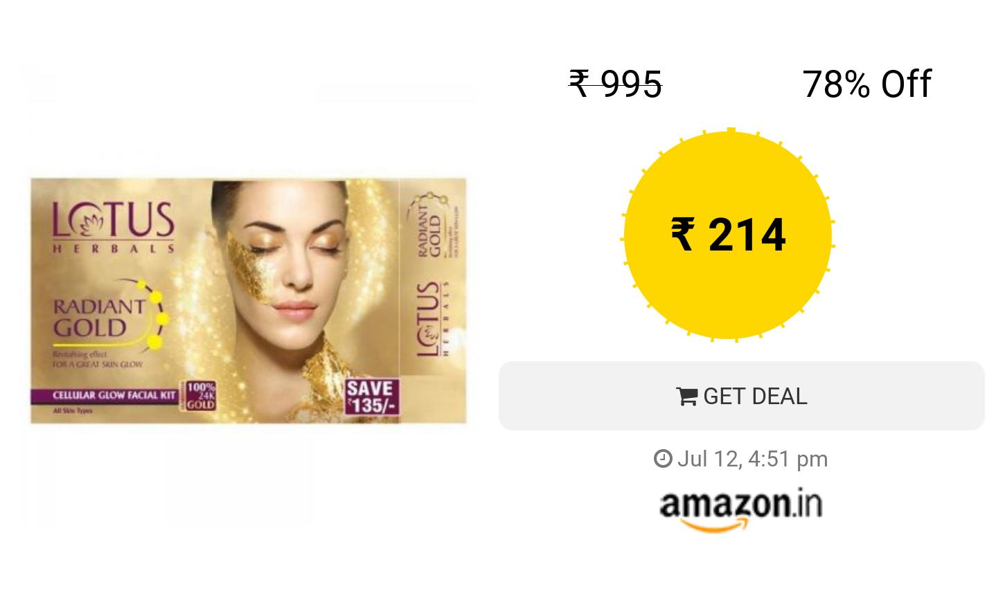 76aa9b3fb7 Lotus Herbal Radiant Gold Cellular Glow Facial Kit, 37g | Deals ...