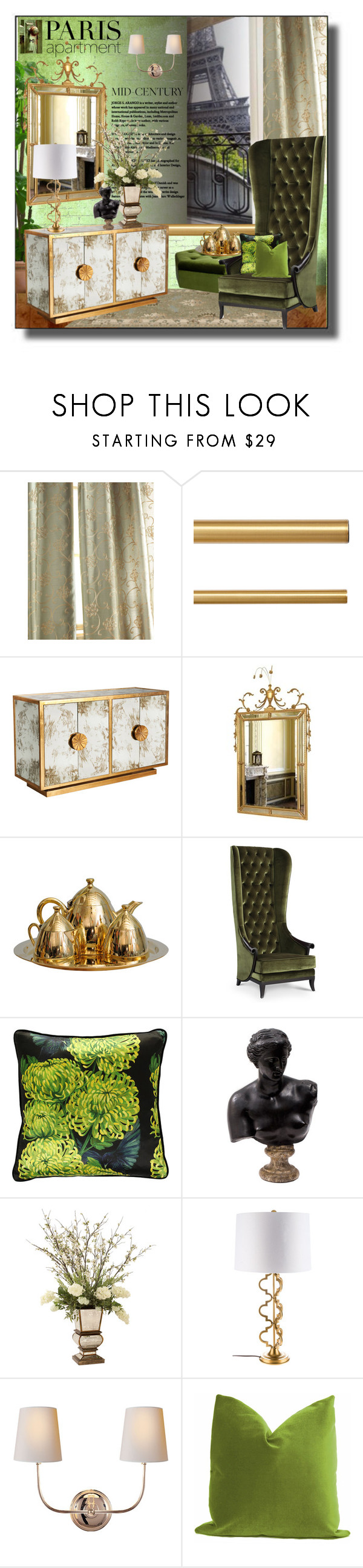 """""""Paris Apartment"""" by idetached ❤ liked on Polyvore featuring interior, interiors, interior design, home, home decor, interior decorating, Ballard Designs, WALL, Worlds Away and Carol Canner"""