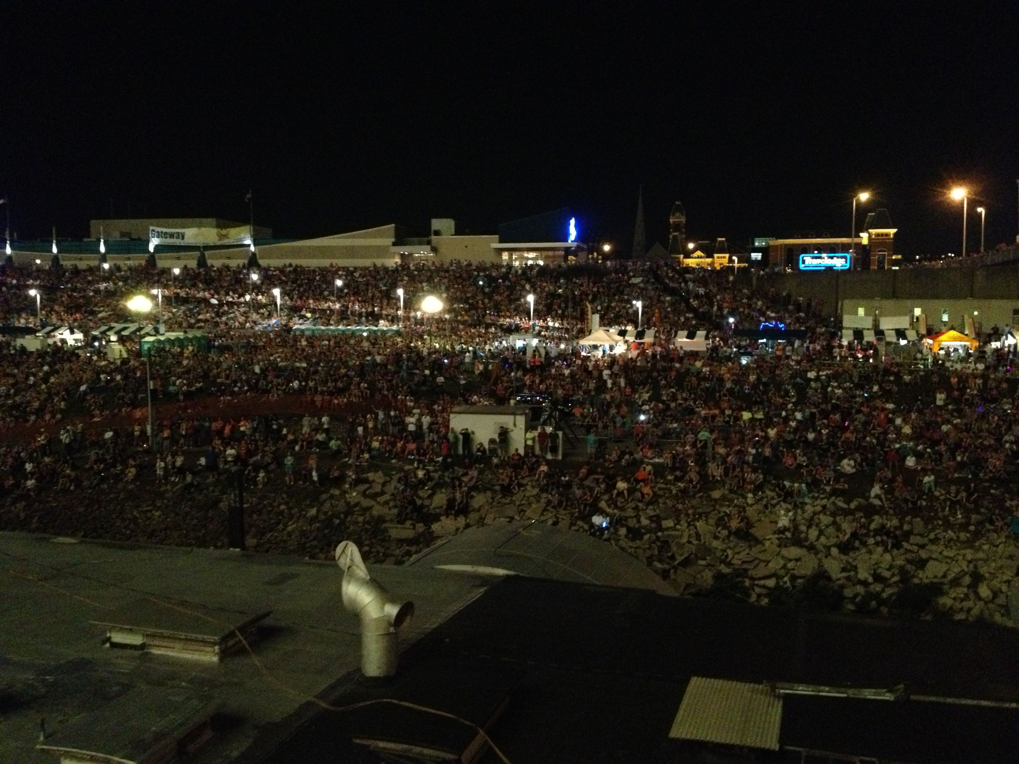 Crowd for the webn fireworks on the newport levee ohio