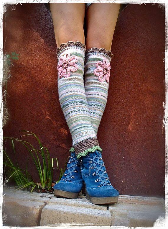 Thigh High FLOWER GIRL leg warmers Fair Isle Boho Hippie Leg Warmers ...