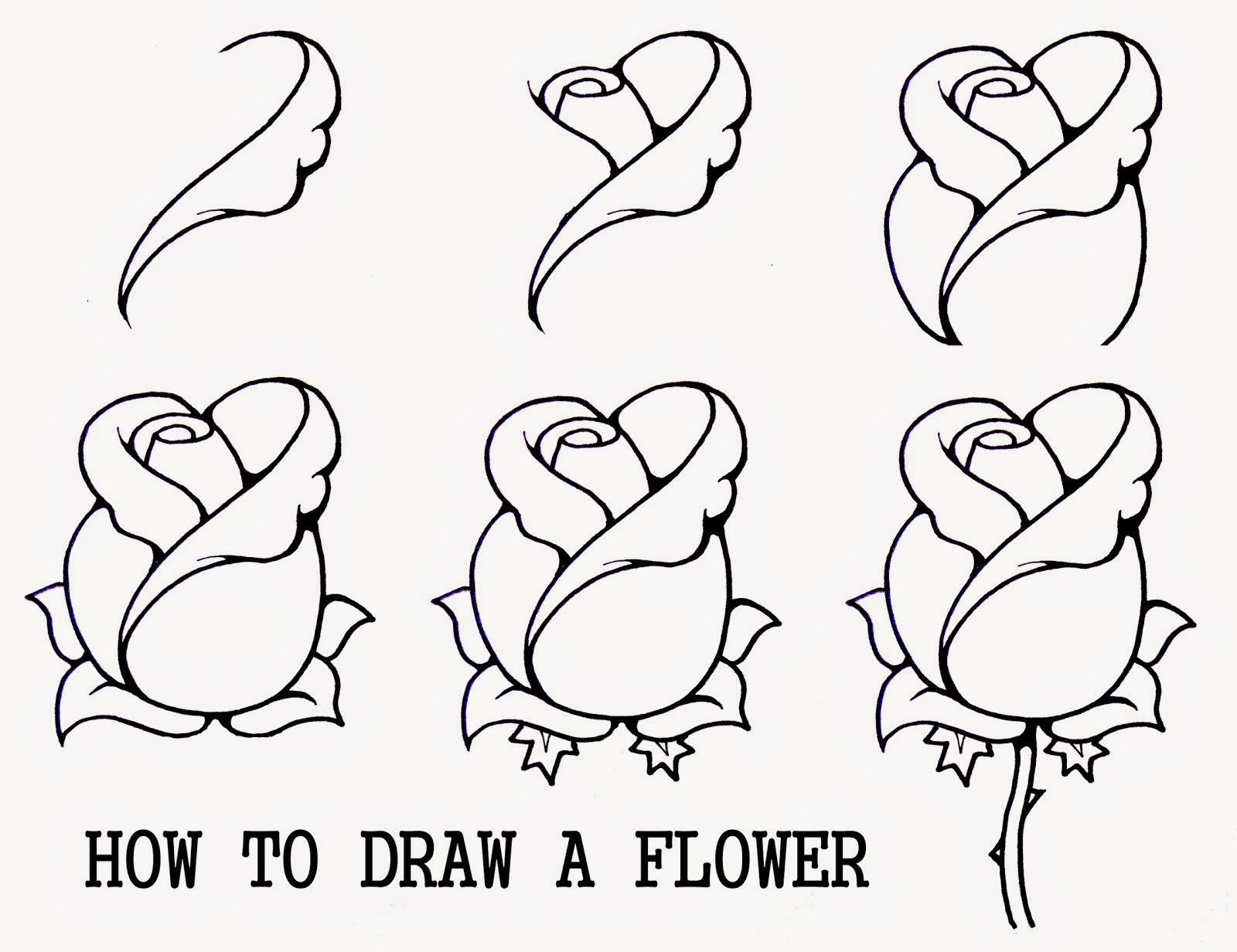 How Do You Draw A Rose Easy Steps Drawings For Kids To Paint New