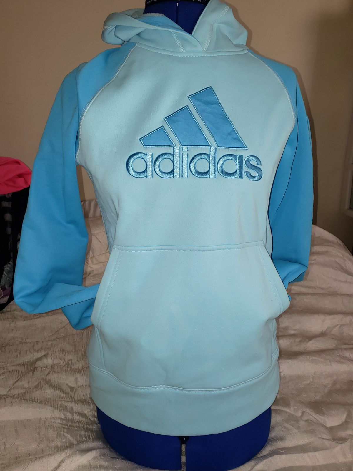 Adidas Girl S Sweater Turquoise With Light Blue With 100 Polyester Polyester Cap Size X L New Girls Sweaters Sweaters Adidas Sweater [ 1600 x 1200 Pixel ]