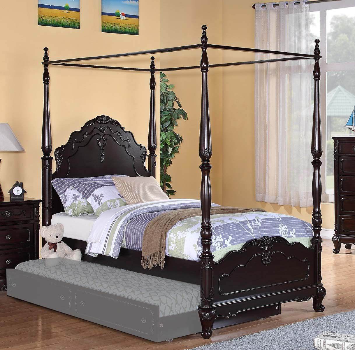 . Homelegance Cinderella Poster Bed   Dark Cherry   Homelegance
