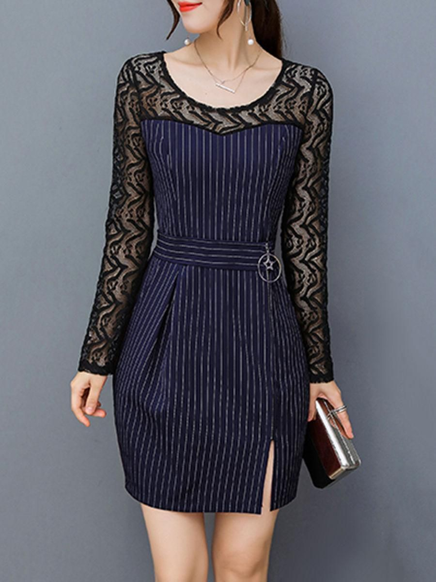 Round neck seethrough zips vertical striped bodycon dress