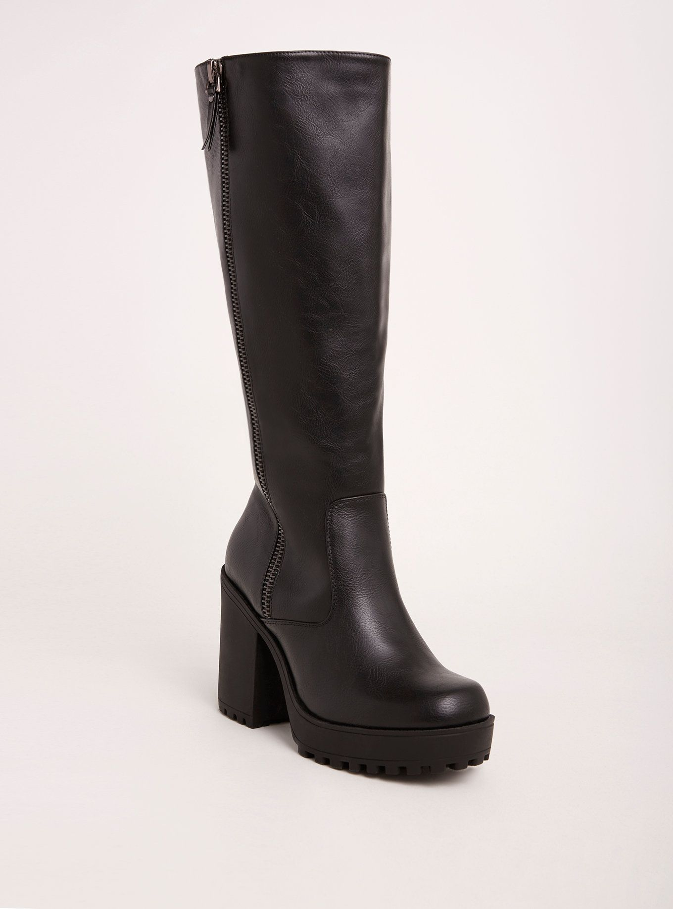 8863071ec30d Lug Heel Knee-High Boots (Wide Width   Wide Calf)