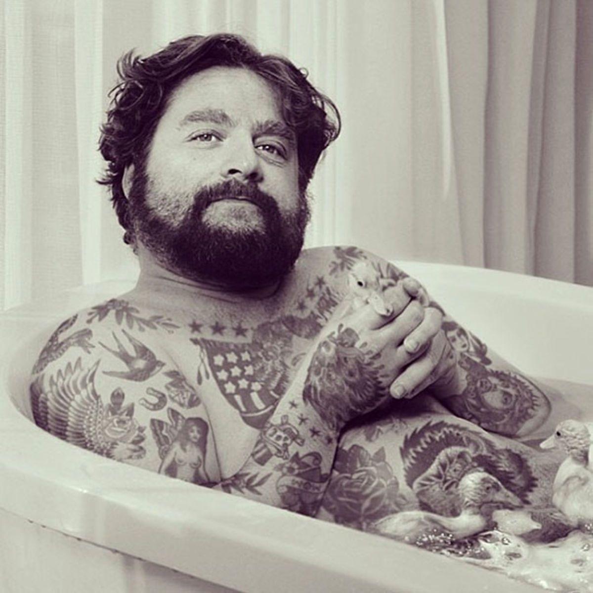 Zach Galifianakis Celebrities If They Had Tattoos Pinterest - Artist reimagines celebrities covered in tattoos