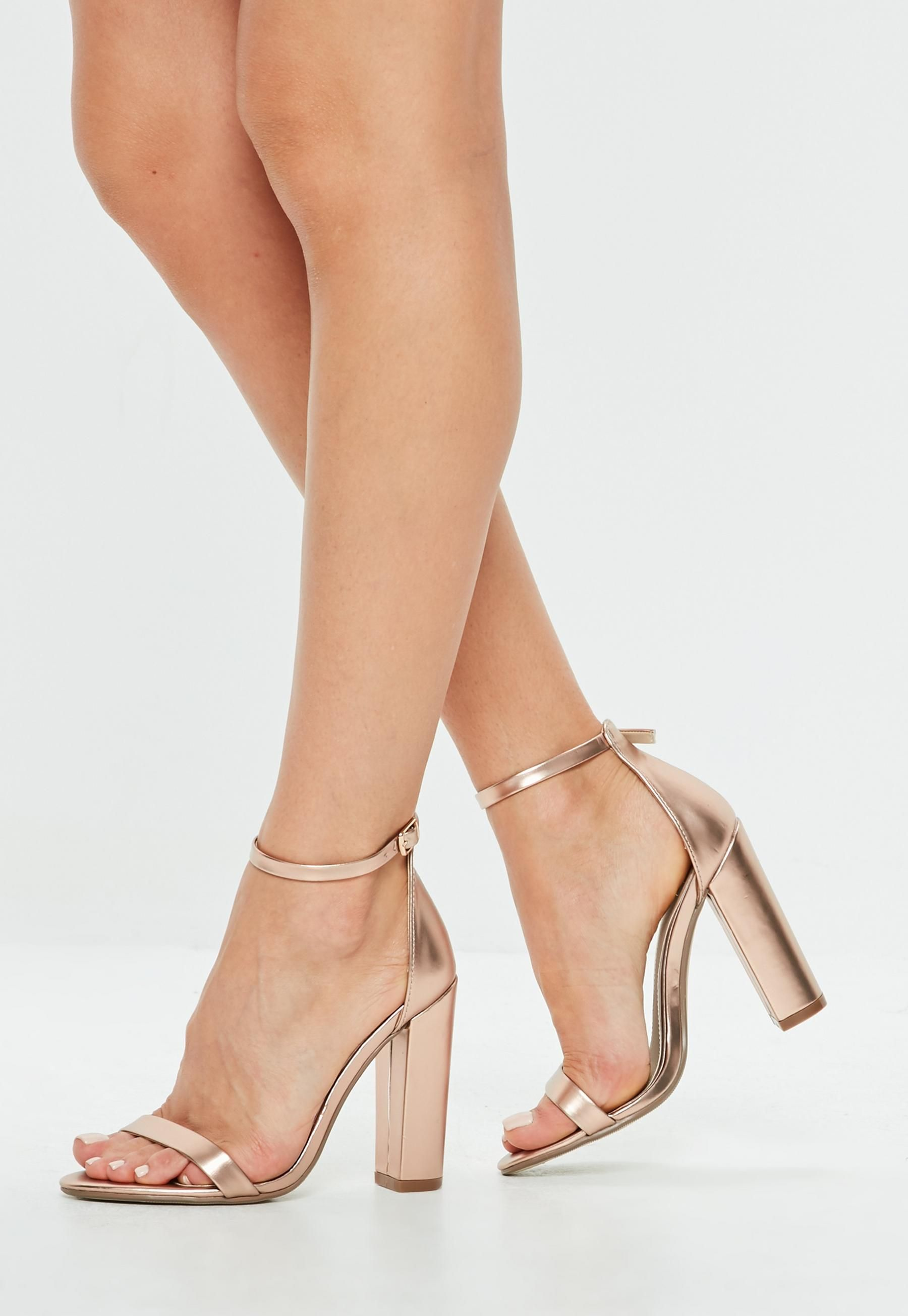 a797b8c6bccb Rose Gold Matt Block Heel Sandals