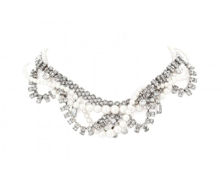 Tom Binns - SCALLOPED WHITE CRYSTAL NECKLACE WITH TANGLED PEARLS
