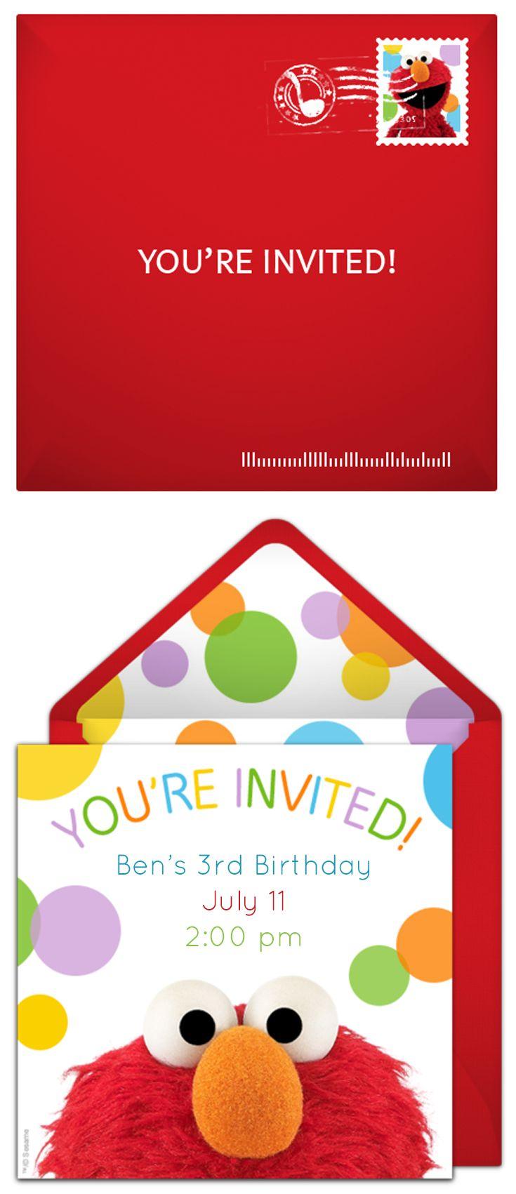 Sesame Street Online Invitations   Elmo party, Elmo and Birthdays
