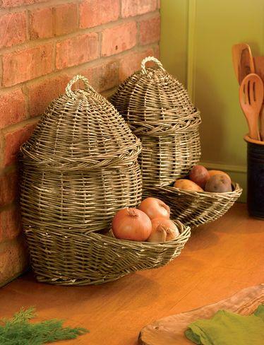 Countertop Potato Onion Storage Baskets Set Of 2 Gardeners