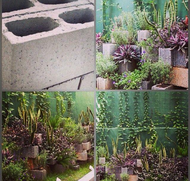 Jardim com blocos de concreto